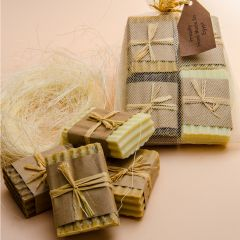 Pack of tulle with 4 different kinds of soaps