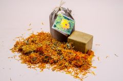 Castile Soap with calendula flowers packed in a carton box.