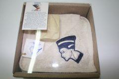 Nefertiti Package Contains towel with Nefertari embroideries, Nefertari soap and a card explaining Nefertari in English