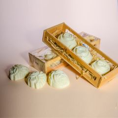 3 soaps in a wood box decorated with natural dry flowers