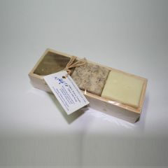 3 different shapes of Soap in a wooden box
