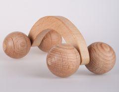 قضيب مساج 4 عجلات ، مصنوع من خشب الزيتون الطبيعي 100٪