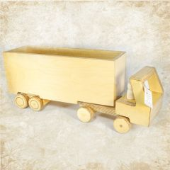 Wooden tractor trailer toy