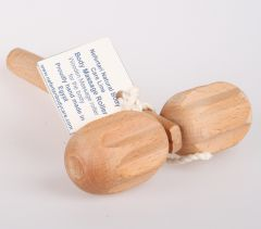 Body Massage Rod 2 balls massage bar, made of 100% natural olive wood
