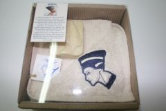 Nefertiti Package Contains towel with Nefertari embroideries, Nefertari soap and a card explaining Nefertari in English