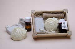 Box no. 2 containing small oil, soap, pimouse stone and hand massage rod