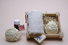 Box no. 1 containing towel size 30 x30 plus small oil plus one soap