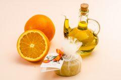 Orange soap in tulle