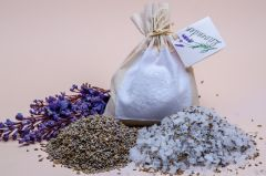 Bath salts with Lavender in Linen Bag