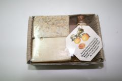 Small Carton box containing a small oil, &  2 olive oil soaps